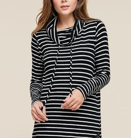 Black & ivory striped cowl neck top