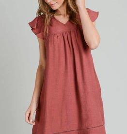 Terra cotta dress w/crochet detail & flutter sleeve