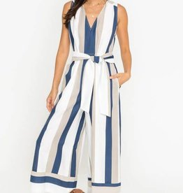 Navy wide belted jumpsuit