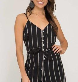 Striped cami button down romper