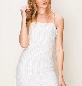 Off white striped dress w/back tie detail