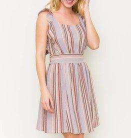 Multi stripe tie back ruffle sleeve dress