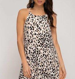 Cream sleeveless leopard print dress