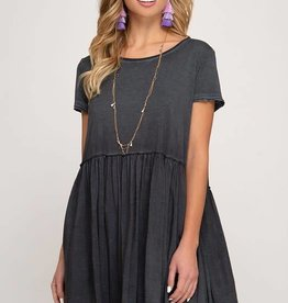 Charcoal garment dyed baby doll dress
