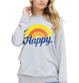 Heather grey HAPPY sweatshirt
