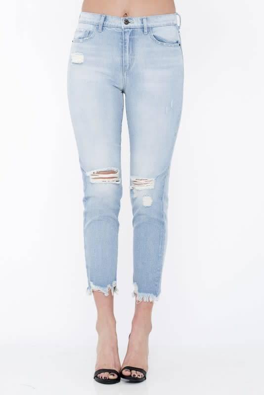 5076f6bb8b M light, distressed high rise boyfriend jeans - Image Boutique