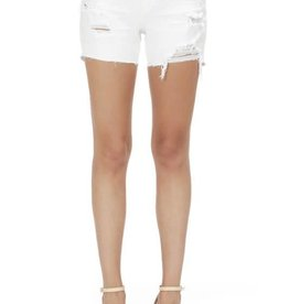 White mid rise thigh short