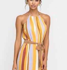 Multi color stripe belted halter dress