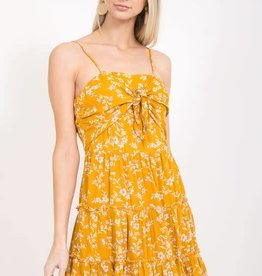 Yellow floral print tie front dress
