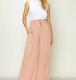 Striped wide leg pants with smock waist