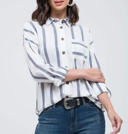 Ivory & navy striped button down