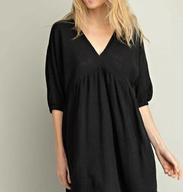 Black cotton gauze V neck tiered dress