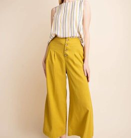 Mustard linen button down wide leg culotte pants