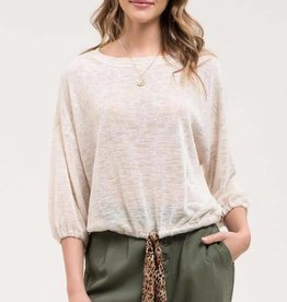 Taupe knit top w/contrast tie
