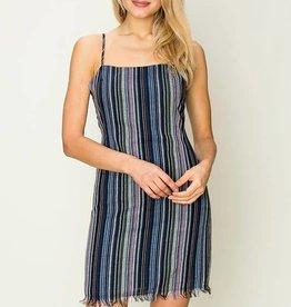 Navy multi stripe spaghetti strap dress