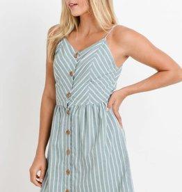 Sage chevron dress w/buttons
