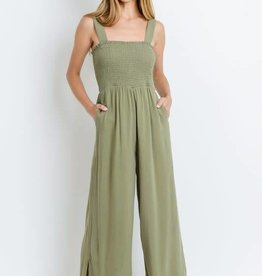 Olive jump suit w/smocking