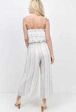 Ivory multi stripe spaghetti strap jumpsuit