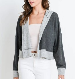 Charcoal french terry hooded cardigan
