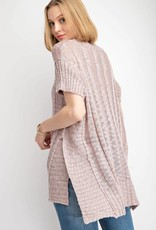Over sized side vent chunky sweater