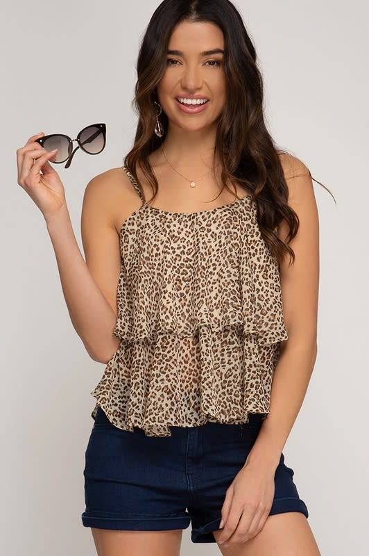 Camel leopard print double layered cami top
