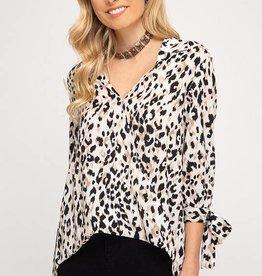 Black leopard print surplice top