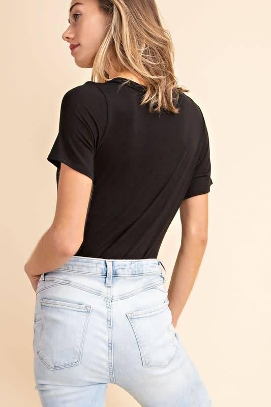 Black ss V neck bodysuit