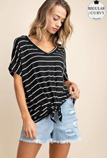 Black/white striped jersey tie front top