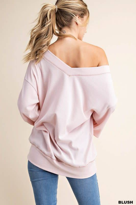Blush wide V neck tunic top