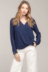 Navy LS surplice blouse