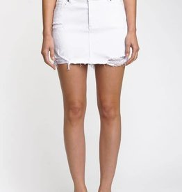 White high rise distressed denim skirt