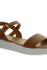 One band platform sandal w/crisscross ankle strap