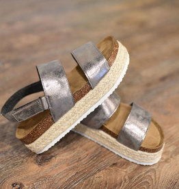 Pewter double strap espadrille platform sandals
