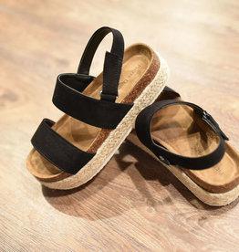 Black double strap espadrille platform sandal