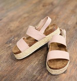 Nude double strap espadrille platform sandal