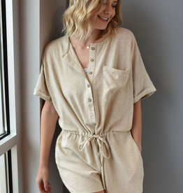 Oatmeal button front, drawstring waist romper