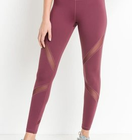Cross mesh panel full length leggings