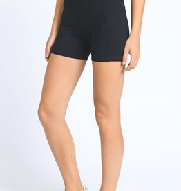 Black high waist active shorts
