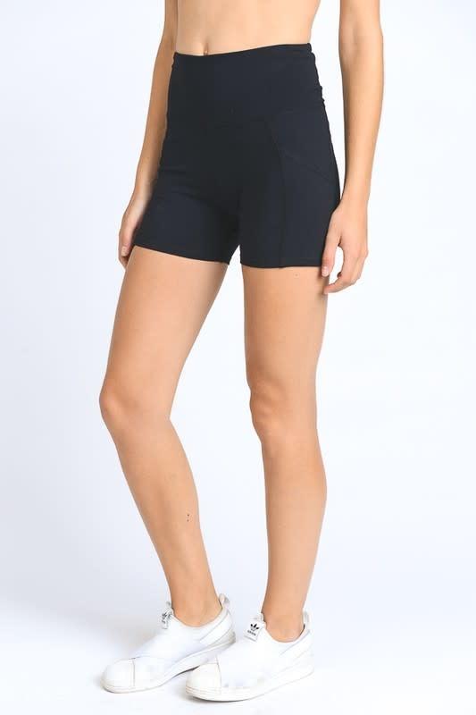 Black high waist active shorts