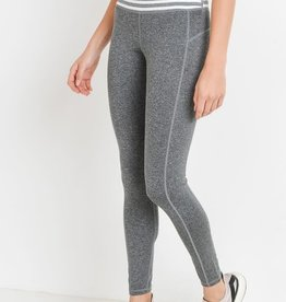 Grey high waist stripe full leggings