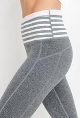 Grey high waist stripe full leggings