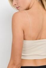 Micro strap ribbed bandeau