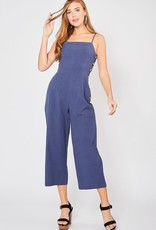 Navy square neck jumpsuit w/side button detail
