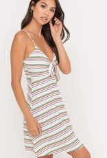 Ivory multi stripe tie front dress