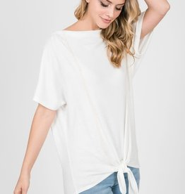 Ivory jersey stitch tie front top