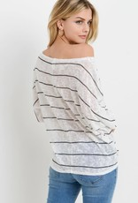 Striped knit tie front top