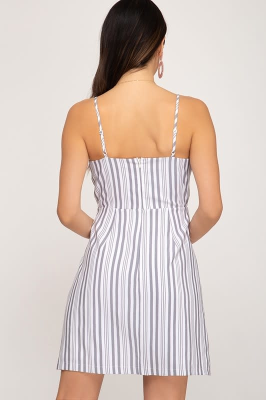 Grey stripe twisted front cami dress