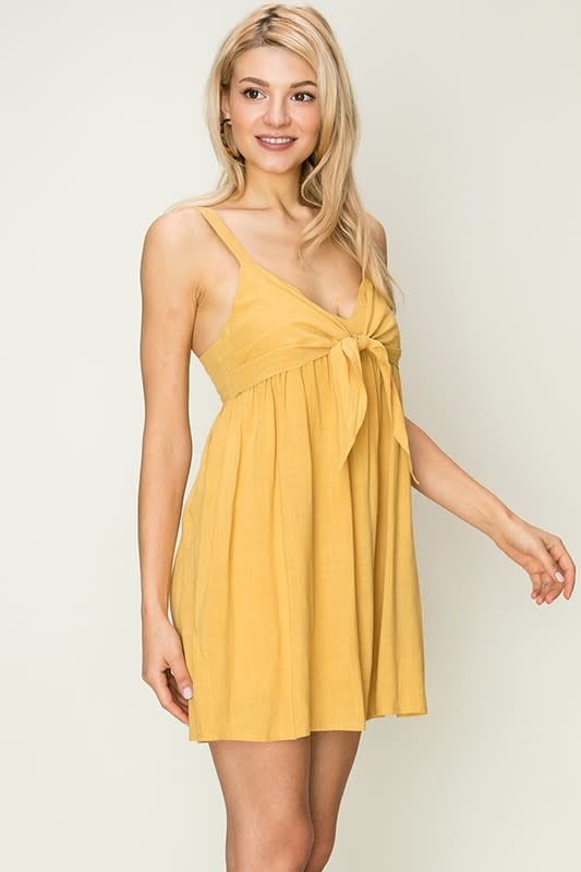 Mustard baby doll dress w/tie front