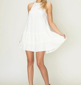 Off white dress w/ruffle tiered hem