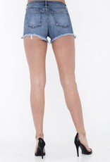 Mid rise cut off denim shorts